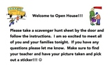 Open House Welcome and Scavenger Hunt
