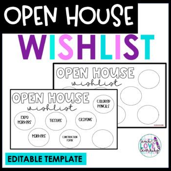 Open House Wishlist Freebie- Editable Version