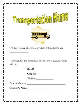Beginning of The Year Open House/Curriculum Night Forms-1st, 2nd, 3rd, 4th,& 5th