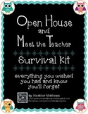 Open House and Meet the Teacher Event Survival Kit - Owls theme