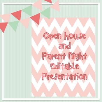 Open House and Parent Night chevron presentation - Editable