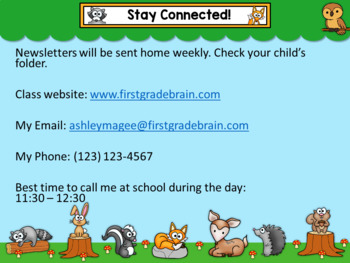 Open House or Back to School PowerPoint Presentation - Woodland Friends Theme