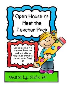 Open House or Meet the Teacher Pack
