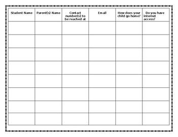 Open House or Meet the Teacher Sign-In Sheet