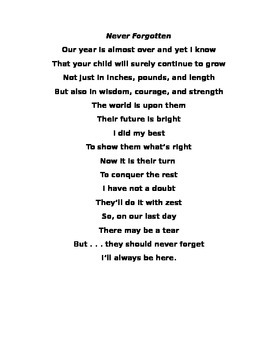 Open House poem--end of the year