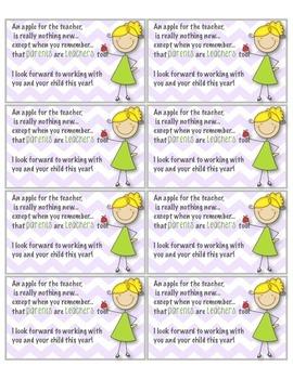 Open House/Back to School Night Parent Favor: Apple for the teacher poem