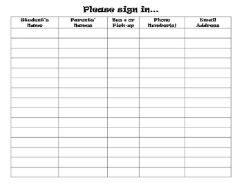 parents sign in sheet