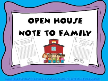 Open House/Parent Night- Student Decorated Note to Family