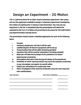 Physics Open Inquiry (Level 4) - Design an Experiment with Rubric - 2D Motion