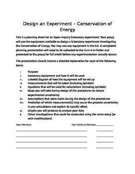Physics Open Inquiry (Level 4) - Design an Experiment with Rubric - Energy