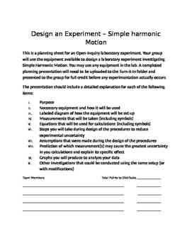 Physics Open Inquiry (Level 4) - Design an Experiment w/Rubric - Harmonic Motion