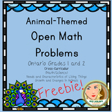 Open Math Problems - Animals - Ontario Grades 1 and 2 - Freebie
