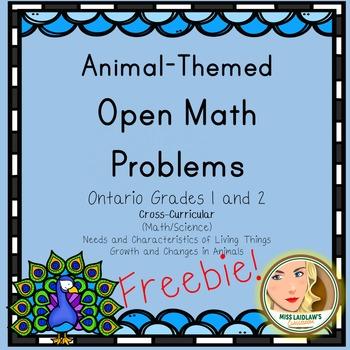 Open Math Problems - Animals - Ontario Grades 1 and 2 - Freebie
