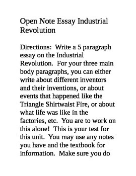 Open Notes Essay on the Industrial Revolution