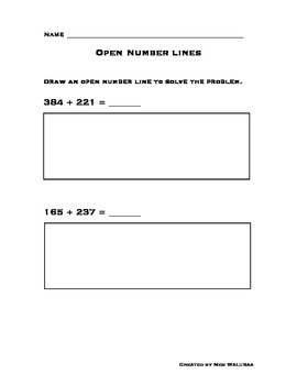 Open Number Line 3-Digit Addition - Common Core Alligned