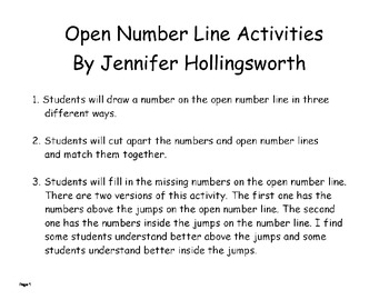 Open Number Line Activities