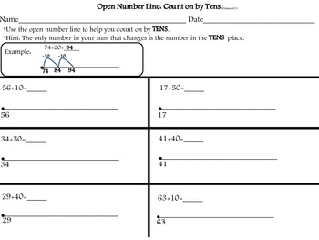 Open Number Line-Count on by Tens