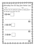 Open Number Line Subtraction from 100 FREEBIE