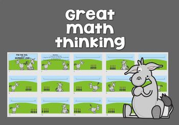 Open Number Lines - Pin the Tail on the Donkey style