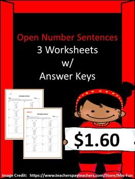 Open Number Sentences (3 Worksheets w/ Answer Keys)