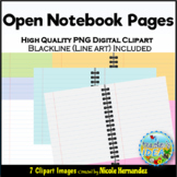 Open Book Notebook Paper Clip Art for Commercial Use