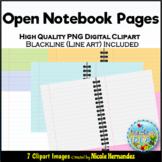 Open Spiral Notebook Pages Clip Art for Teachers