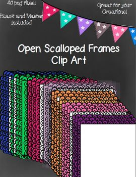 Open Scalloped Frames - 40 png files