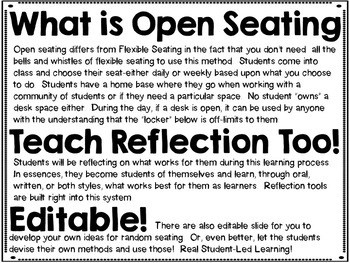 Open Seating Posters and Reflection