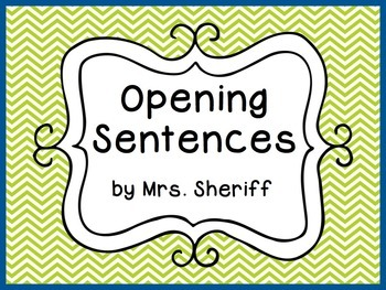 Open Sentences Posters - Quantum Learning - Lime Green and Blue {EDITABLE}