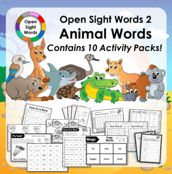Open Sight Words 2 - Animal Words - for PM Readers - Activity Pack Bundle