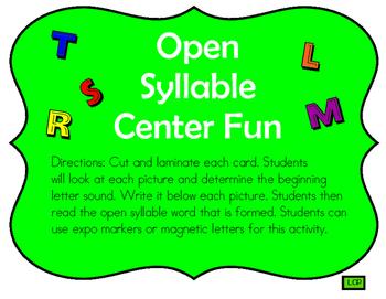 Open Syllable Center Fun
