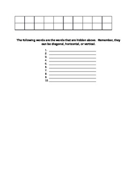 Open Syllable Fill in the Blank and Word Search