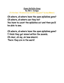 Open Syllable Song