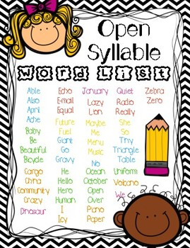 Open Syllable Word List