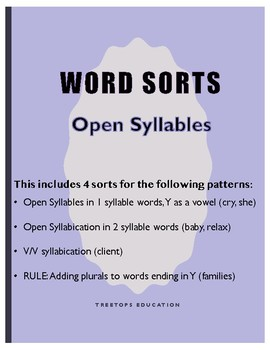 Open Syllable Word Sorts