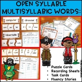Open Syllable Multisyllabic Words Activities | Independent Work Packets