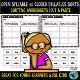 Open Syllable vs Closed Syllable Sort | Cut and Paste Worksheets