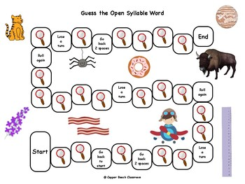 Open Syllables Board Game with Clue Cards