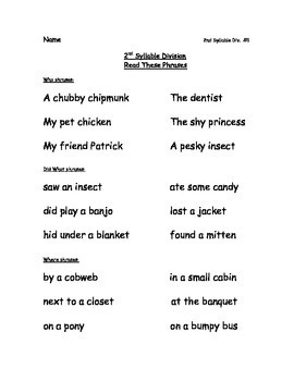 Reading Packets: 21-25 Open Syllables, First and Second Syllable Divsion Rules