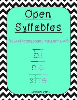Open Syllables: Vowel/Consonant Patterns #3