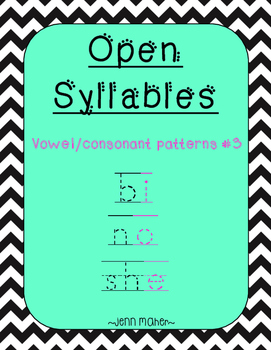 Open Syllables: Vowel/Consonant Patterns #3