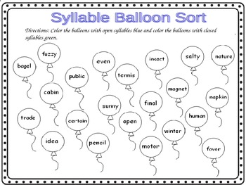 Open syllable worksheets 1st grade