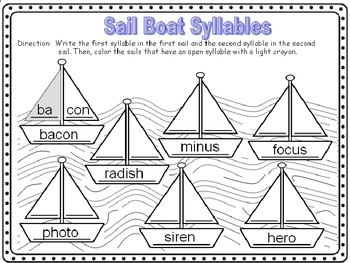 Open Syllables Word Work Worksheets