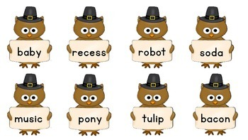 Open Syllables for Thanksgiving