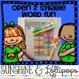 Open Two Syllable Words Word Work