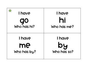 "Open Vowel ""I have__ Who has__?"""