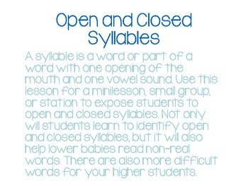 Open and Close Syllable Sort