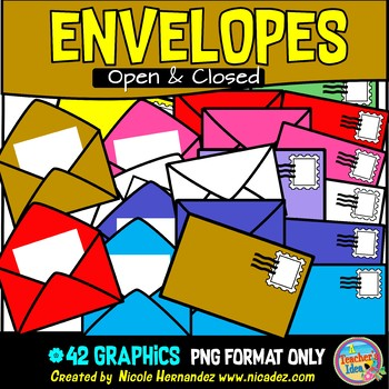 Open and Closed Envelopes (with Note Paper and Stamps) Clip Art Commercial Use