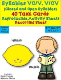 Open and Closed Syllable 40 Task Cards! Pintables! CCSS