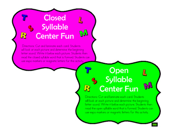 Open and Closed Syllable Center Fun